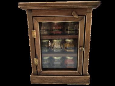 Porta Temperos Condimentos Em Madeira Cor Marrom 9 Vidros
