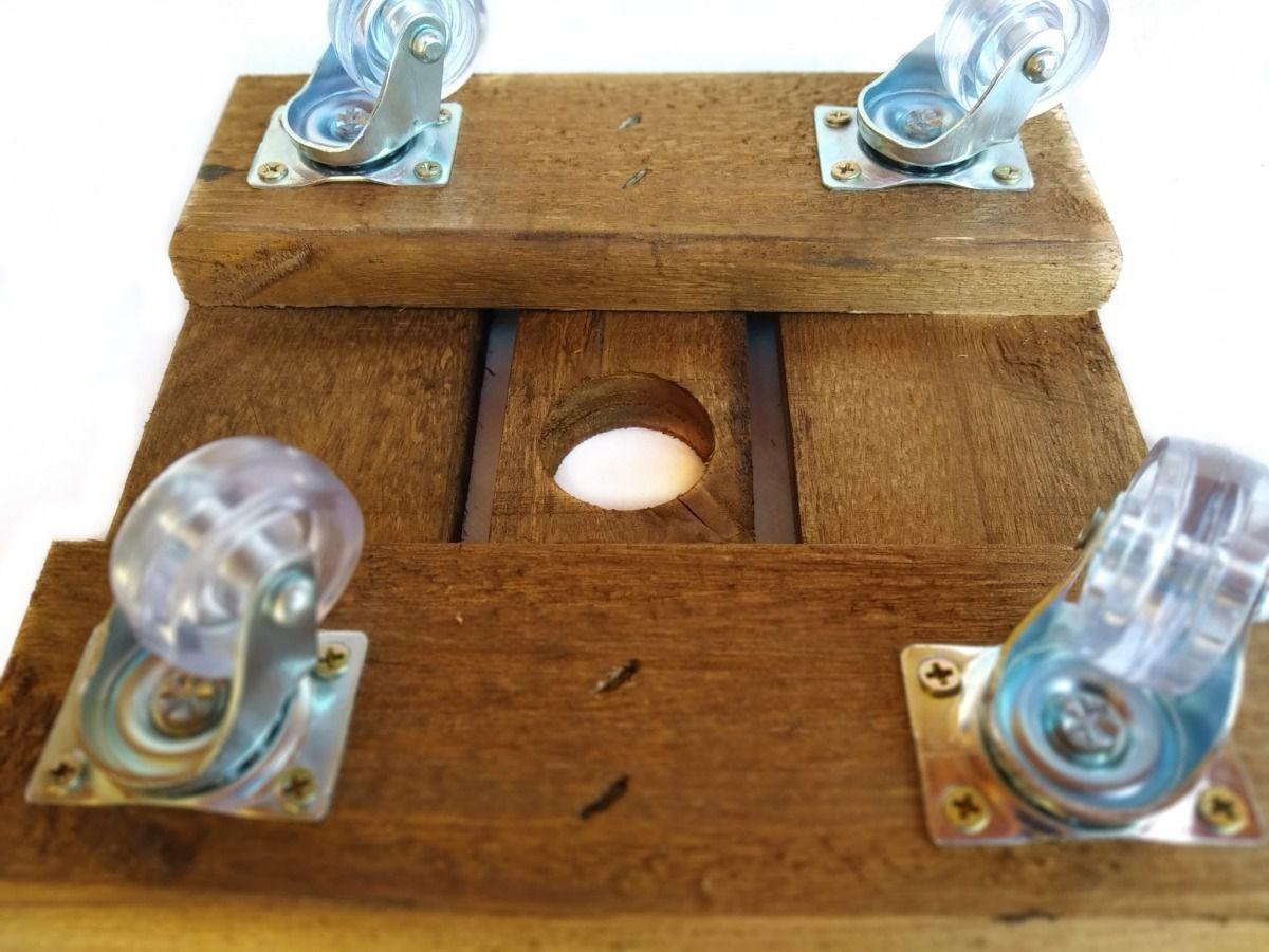 Suporte Base De Madeira Tratada Para Vasos Quadrado 25 Cm 4 Rodizios Cristal