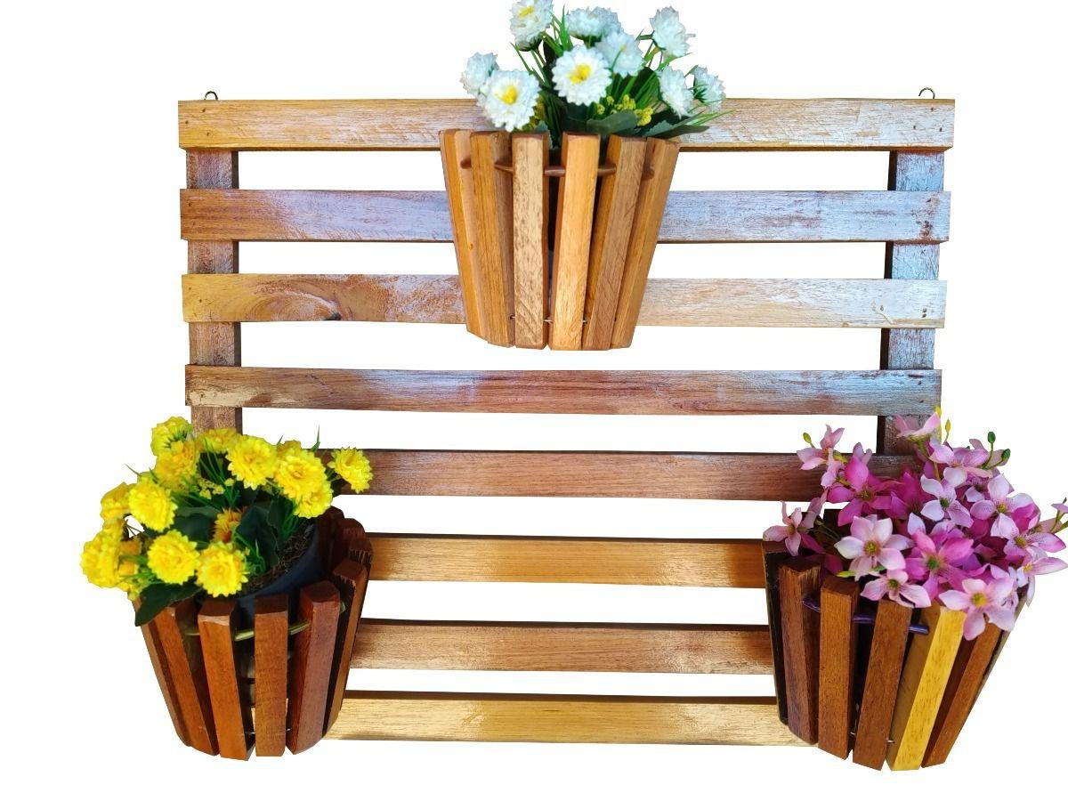 Painel De Madeira Para Flores Plantas Com 6 Vasos Movéis