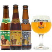 Kit de Cervejas St Bernardus contendo 3 Rótulos com Taça