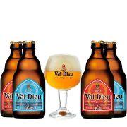 Kit Val-Dieu 4 Cervejas com Taça 250 ml
