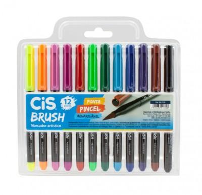 Brush Pen Aquarelável 12 Cores CIS