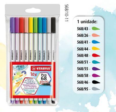 Brush Pen Stabilo Estojo com 10 unidades