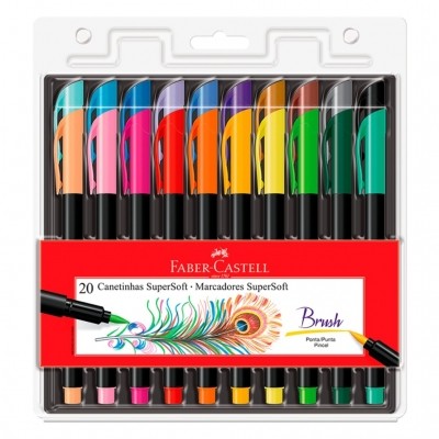 CANETA PINCEL BRUSH SUPERSOFT 20 CORES FABER-CASTELL