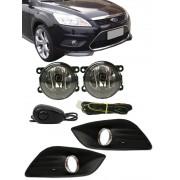 Kit Farol de Milha Neblina Ford Focus - 2009 2010 2011 2012 2013 - Interruptor Alternativo + Molduras Aro Cromo