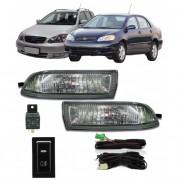 Kit Farol de Milha Neblina Toyota Corolla 2003 / 2004 - Fielder todas - Interruptor Modelo Original