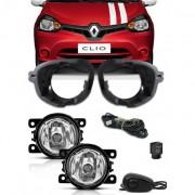 Kit Farol de Milha Neblina Renault Clio 2013 2014 2015 + Base Para Fixa��o - Interruptor Alternativo