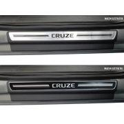 Jogo Soleira Premium Elegance Gm Cruze 2011 á 2022 - 4 Portas ( Vinil + Resinada 8 Peças )