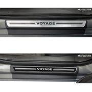 Jogo Soleira Premium Elegance Vw Voyage G5 / G6 2008 2009 2010 2011 2012 2013 2014 2015 2016 2017 2018 2019 2020 2021 2022 - ( Vinil + Resinada 4 Peças )