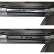 Jogo Soleira Premium Elegance Fiat Palio Novo 2012 2013 2014 2015 - 4 Portas ( Vinil + Resinada 8 Peças )