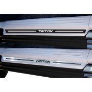 Jogo Soleira Premium Elegance Mitsubishi L200 Triton 2002 à 2022 - 4 Portas ( Vinil + Resinada 8 Peças )