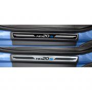 Jogo Soleira Premium Elegance Hyundai HB20S 2012 2013 2014 2015 2016 2017 2018 2019 2020 2021 2022- 4 Portas ( Vinil + Resinada 8 Peças )