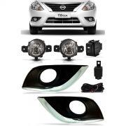 Kit Farol de Milha Neblina Nissan Versa 2015 2016 2017 2018 2019 2020 Com Molduras Externas - Interruptor Modelo Original