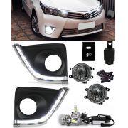 Kit Farol de Milha Neblina Toyota Corolla 2015 2016 2017 Com LED Daylight - DRL + Lâmpada Super LED H11