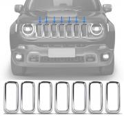 Aplique Grade Frontal Dianteira Jeep Renegade 2019 2020 2021 7 Peças