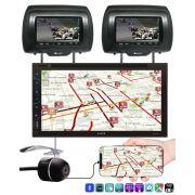 Multimidia H-Tech HT-5019 DVD GPS TV Digital Espelhamento Android iPhone Bluetooth + 2 Encostos de Cabeça AV + Câmera Ré