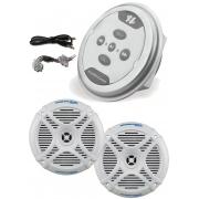 Controle Amplificado Bluetooth Hurricane + Par Alto Falante MR 65.2 Marine Jetski Barco Lancha