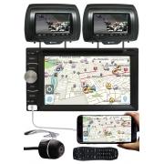 DVD Player 2 Din E-Tech + 2 Encosto AV + Câmera Ré