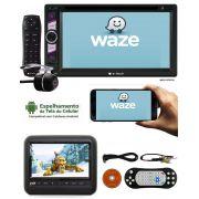 """DVD Player 2 DIN E-Tech Universal Tela 6,2"""" + Encosto Cabeça Sobrepor + Câmera Ré"""