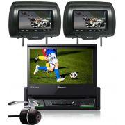 DVD Player Automotivo Retrátil Pioneer AVH-Z7280TV 7 Polegadas TV Digital Bluetooth USB + 2 Encosto Cabeça + Câmera Ré