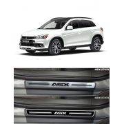 Jogo Soleira Premium Elegance Mitsubishi Asx 2011 2012 2013 2014 2015 2016 2017 2018 - 4 Portas ( Vinil + Resinada 8 Peças )