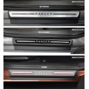 Jogo Soleira Premium Elegance Ford Nova Ranger 2013 2014 2015 2016 2017 2018 2019 2020 2021 2022- 4 Portas ( Vinil + Resinada 8 Peças )