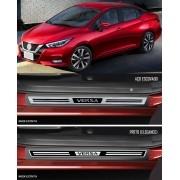 Jogo Soleira Premium Elegance Nissan Versa 2021 2022 - 4 Portas ( Vinil + Resinada 8 Peças )