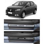 Jogo Soleira Premium Elegance Renault Novo Logan 2014 2015 2016 2017 2018 2019 2020 2021 2022 - 4 Portas (Vinil + Resinada 8 Peças)