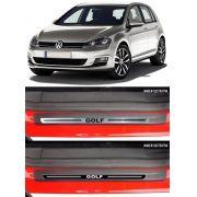 Jogo Soleira Premium Elegance VW Golf 1999 2000 2001 2002 2003 2004 2005 2006 2007 2008 2009 2010 2011 2012 2013 2014 2015 2016 2017 2018 2019 - 4 Portas ( Vinil + Resinada 8 Peças )