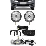 Kit Farol de Milha Fiat Grand Siena 2012 á 2021 - Botão Painel + Kit Lâmpada Super LED 6000K