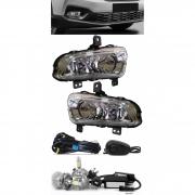 Kit Farol de Milha Fiat Strada Cabine Simples e Dupla 2020 2021 2022 Botão Alternativo + Kit Lâmpada Super LED