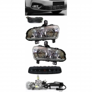 Kit Farol de Milha Fiat Strada Cabine Simples e Dupla 2020 2021 2022 Botão Painel + Kit Lâmpada Super LED