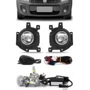 Kit Farol de Milha Fiat Strada Working 2014 2015 2016 2017 2018 2019 2020 2021 Botão Alternativo + Kit Lâmpada Super LED 6000K
