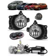 Kit Farol de Milha Neblina Chevrolet Cobalt Spin Novo Prisma Onix LT LTZ 2013 á 2018 + Kit Lâmpada Super LED 6000K - Botão Alternativo