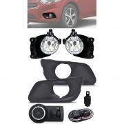 Kit Farol de Milha Neblina Chevrolet Joy Sedan e Hatch 2020 2021 Com Moldura