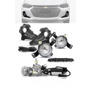 Kit Farol de Milha Neblina Chevrolet Onix e Onix Plus Sedan 2020 em Diante com Botão Similar ao Original + Kit Lâmpada Super LED 6000K