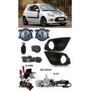Kit Farol de Milha Neblina Ford Ka 2012 2013 2014 + Kit Xenon 6000K 8000K ou Kit Lâmpada Super LED 6000K