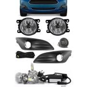 Kit Farol de Milha Neblina Ford New Fiesta 2013 2014 2015 2016 2017 Botão Alternativo + Kit Lâmpada Super LED 6000K