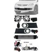 Kit Farol Milha + Grade Central Friso Cromado Vw Gol Voyage Saveiro G5 2009 à 2013 Kit Xenon ou LED