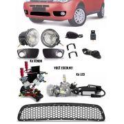 Kit Farol de Milha Neblina + Grade Para-choque Central Fiat Palio Celebration 2004 à 2011 + Kit Xenon ou LED