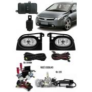 Kit Farol de Milha Neblina Honda New Civic 2006 2007 2008 + Kit Xenon 6000K 8000K ou Kit Lâmpada Super LED 6000K