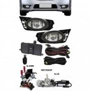 Kit Farol de Milha Neblina Honda New Civic 2009 2010 2011 + Kit Xenon 6000K 8000K ou Kit Lâmpada Super LED 6000K