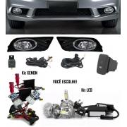 Kit Farol de Milha Neblina Honda New Civic 2012 / 2013 / 2014 - Botão Painel + Kit Xenon 6000K / 8000K ou Kit Lâmpada Super LED 6000K