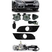 Kit Farol de Milha Neblina Honda New Civic 2015 2016 + Kit Lâmpada Super LED 6000K