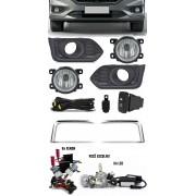 Kit Farol de Milha Neblina Honda City 2018 2019 2020 Com Moldura Com Aro Cromo + Kit Xenon 6000K / 8000K ou Kit Lâmpada Super LED 6000K
