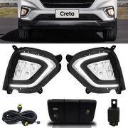 Kit Farol de Milha Neblina Hyundai Creta 2020 LED DRL PCD Attitude Smart