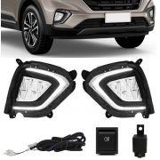 Kit Farol de Milha Neblina Hyundai Creta 2020 LED DRL PCD Attitude Smart Botão Alternativo
