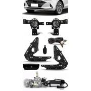 Kit Farol de Milha Neblina Hyundai HB20 HB20S 2020 2021 Botão Painel + Kit Lâmpada Super LED 6000K