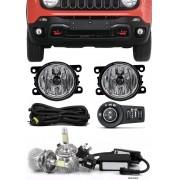 Kit Farol de Milha Neblina Jeep Renegade - Botão Painel + Kit Lâmpada Super LED 6000K