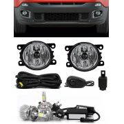 Kit Farol de Milha Neblina Jeep Renegade - Interruptor Alternativo + Kit Lâmpada Super LED Headlight H11 6000K 12V e 24V 32W 2200LM